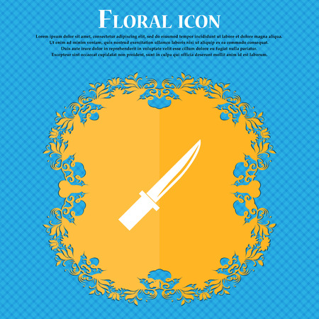 knife icon icon. Floral flat design on a blue abstract background with place for your text. Vector illustration