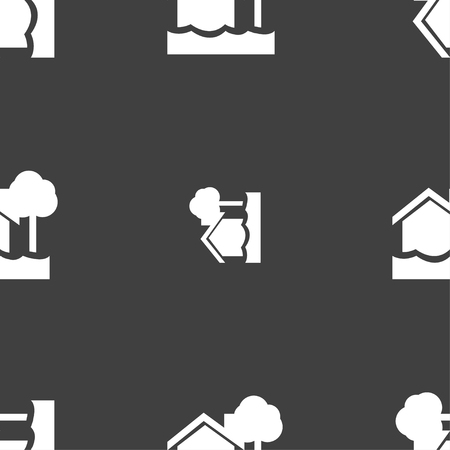 flooding: flooding home icon sign. Seamless pattern on a gray background. Vector illustration Illustration
