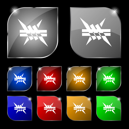 barbwire: Barbed wire icon. sign. Set of ten colorful buttons with glare. Vector illustration sign. Set of ten colorful buttons with glare. Vector illustration