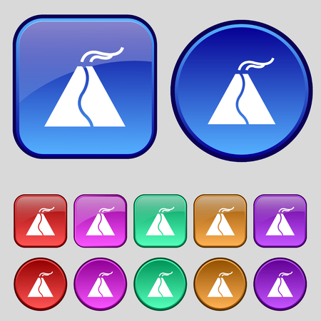 calamity: active erupting volcano icon sign. A set of twelve vintage buttons for your design. Vector illustration