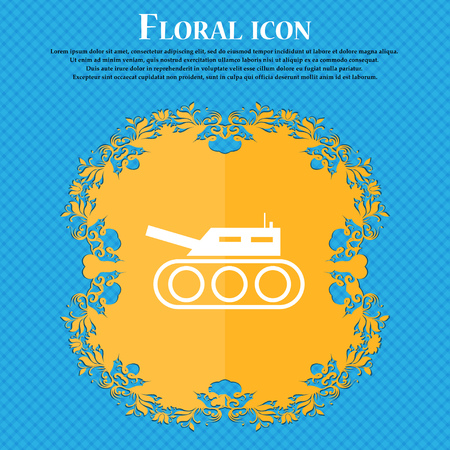 Tank, war, army icon icon. Floral flat design on a blue abstract background with place for your text. Vector illustration