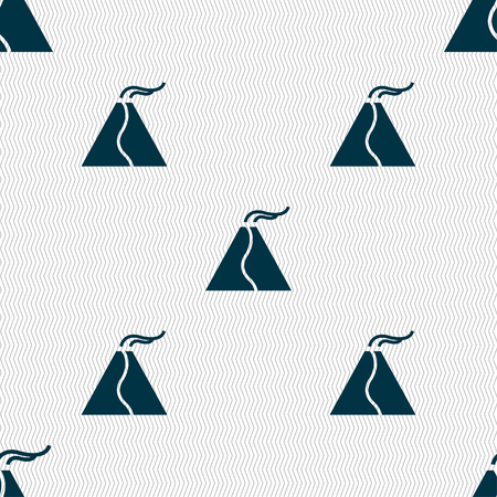 active erupting volcano icon sign. Seamless pattern with geometric texture. Vector illustration Illustration