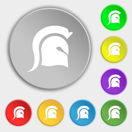 norseman: Spartan Helmet icon sign. Symbol on eight flat buttons. Vector illustration