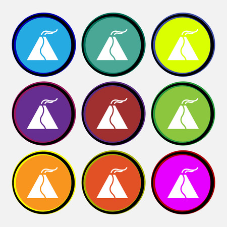 active erupting volcano icon sign. Nine multi colored round buttons. Vector illustration Illustration