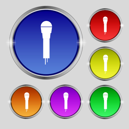 amplify: Microphone Icon sign. Round symbol on bright colourful buttons. Vector illustration Illustration