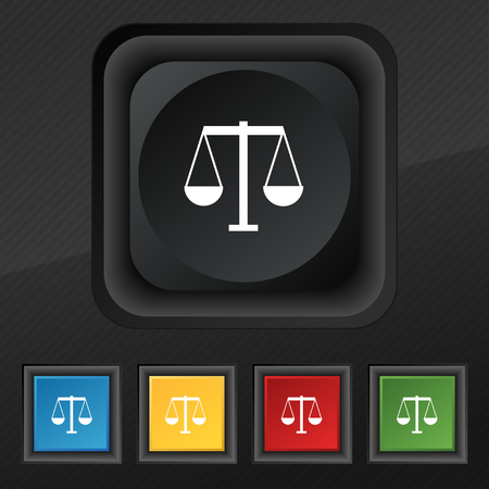 magistrate: Scales of Justice icon symbol. Set of five colorful, stylish buttons on black texture for your design. Vector illustration