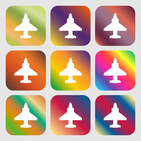 fighter pilot: Aircraft or Airplane Icon . Nine buttons with bright gradients for beautiful design. Vector illustration