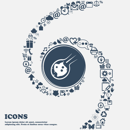 friction: Flame meteorite icon in the center. Around the many beautiful symbols twisted in a spiral. You can use each separately for your design. Vector illustration Illustration