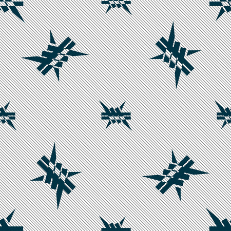 barbwire: Barbed wire icon. sign. Seamless pattern with geometric texture. Vector illustration Illustration