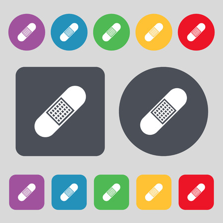 firstaid: Band Aid Icon sign. A set of 12 colored buttons. Flat design. Vector illustration
