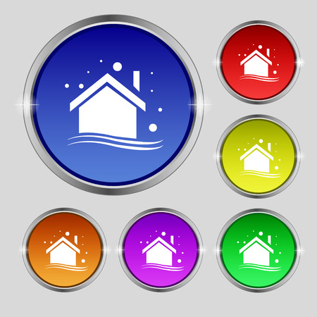 Winter house icon sign. Round symbol on bright colourful buttons. Vector illustration