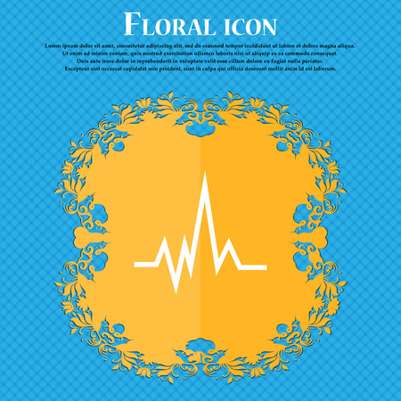 pulse Icon icon. Floral flat design on a blue abstract background with place for your text. Vector illustration