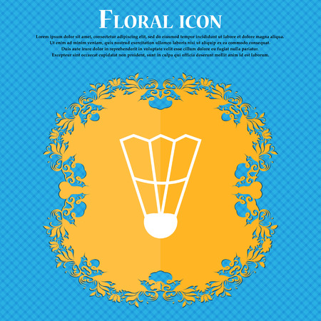 Shuttlecock icon icon. Floral flat design on a blue abstract background with place for your text. Vector illustration Illustration