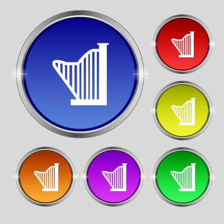 lyra: Harp icon sign. Round symbol on bright colourful buttons. Vector illustration Illustration