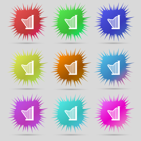 lyra: Harp icon sign. A set of nine original needle buttons. Vector illustration