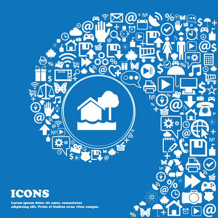 flooding home icon . Nice set of beautiful icons twisted spiral into the center of one large icon. Vector illustration