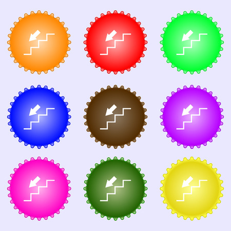 descent down icon sign. Big set of colorful, diverse, high-quality buttons. Vector illustration Illustration