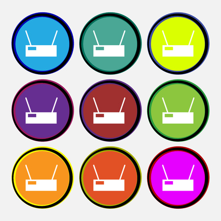 Wireless Icon sign. Nine multi colored round buttons. Vector illustration