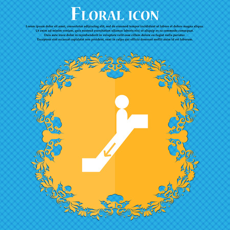 moving down: escalator down Icon icon. Floral flat design on a blue abstract background with place for your text. Vector illustration