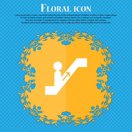 escalator icon icon. Floral flat design on a blue abstract background with place for your text. Vector illustration Illustration