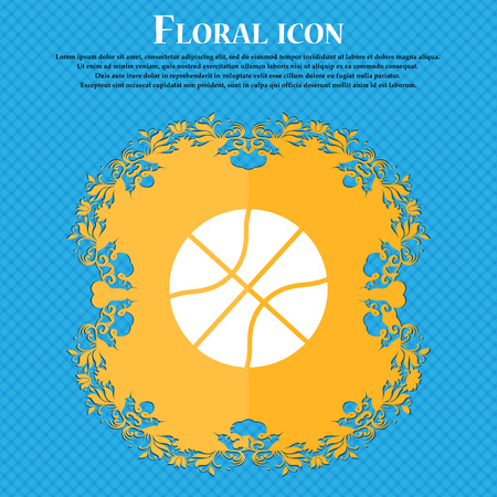 Basketball icon icon. Floral flat design on a blue abstract background with place for your text. Vector illustration