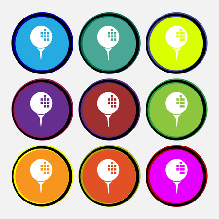 Golf icon sign. Nine multi colored round buttons. Vector illustration Illustration