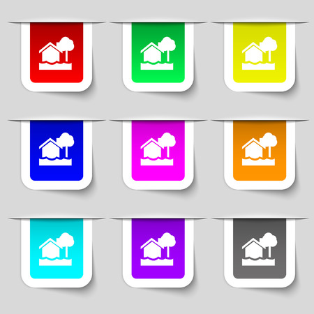 sail fin: flooding home icon sign. Set of multicolored modern labels for your design. Vector illustration Illustration