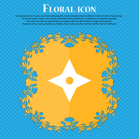 Ninja Star, shurikens icon icon. Floral flat design on a blue abstract background with place for your text. Vector illustration Illustration