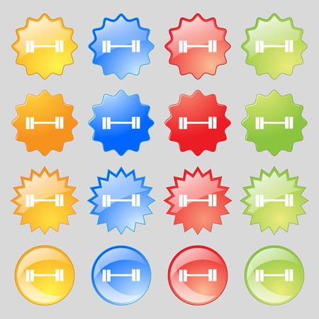 Dumbbell icon sign. Big set of 16 colorful modern buttons for your design. Vector illustration Illustration