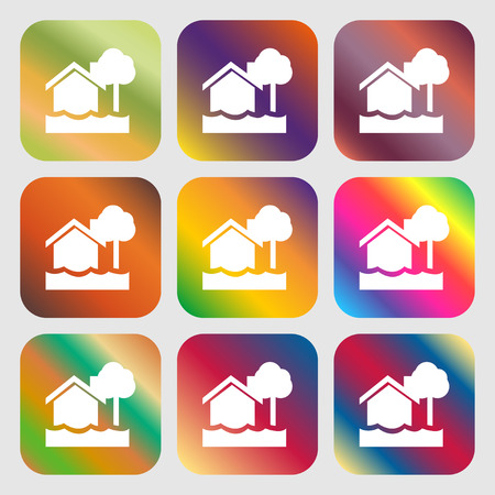 flooding home icon . Nine buttons with bright gradients for beautiful design. Vector illustration Illustration