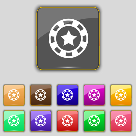 las vegas metropolitan area: Gambling chips icon sign. Set with eleven colored buttons for your site. Vector illustration