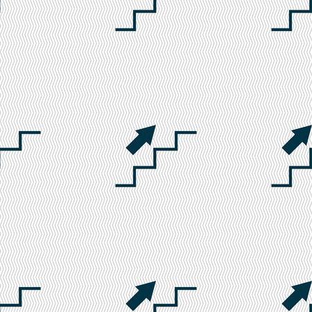 ascend: Stairs going up icon sign. Seamless pattern with geometric texture. Vector illustration