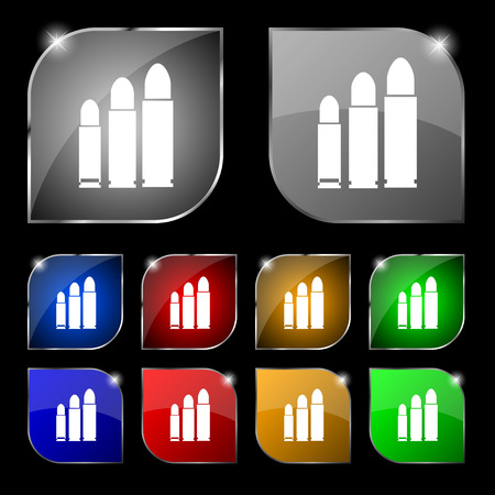 m16 ammo: bullet Icon sign. Set of ten colorful buttons with glare. Vector illustration sign. Set of ten colorful buttons with glare. Vector illustration Illustration