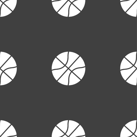 Basketball icon sign. Seamless pattern on a gray background. Vector illustration