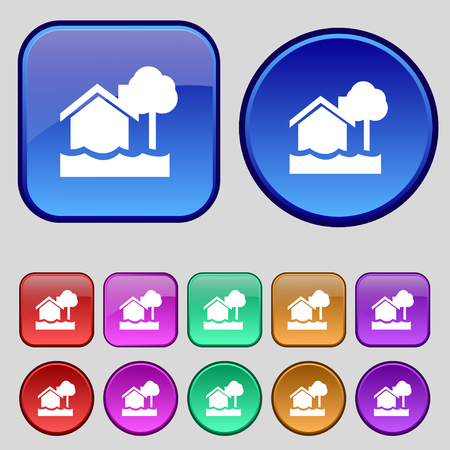 flooding home icon sign. A set of twelve vintage buttons for your design. Vector illustration