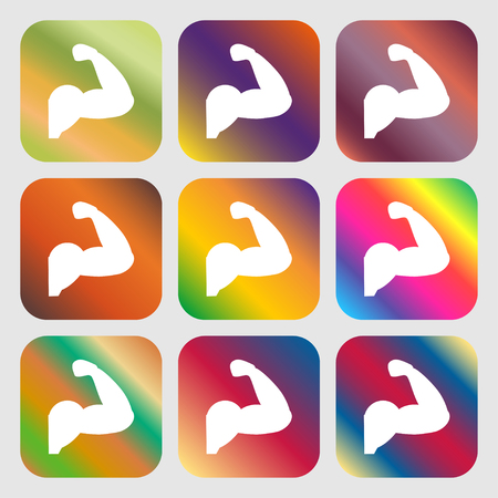 muscular control: Biceps strong arm. Muscle icon . Nine buttons with bright gradients for beautiful design. Vector illustration
