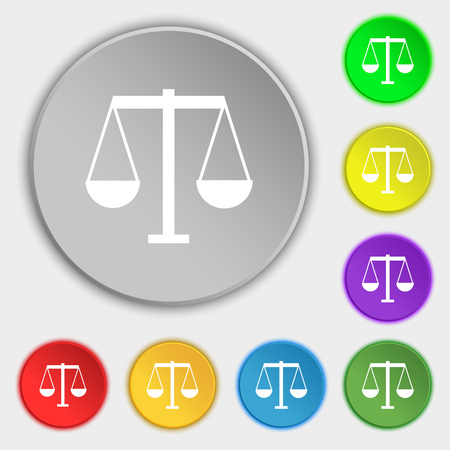 acquittal: Scales of Justice icon sign. Symbol on eight flat buttons. Vector illustration