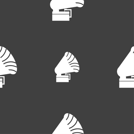 gramaphone: Gramophone icon. sign. Seamless pattern on a gray background. Vector illustration