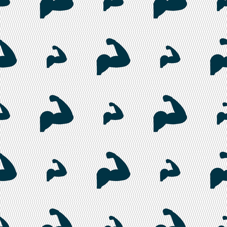 in flexed: Biceps strong arm. Muscle icon sign. Seamless pattern with geometric texture. Vector illustration