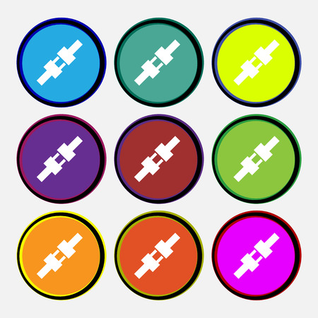 seat belt icon sign. Nine multi colored round buttons. Vector illustration