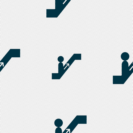 escalate: escalator icon sign. Seamless pattern with geometric texture. Vector illustration