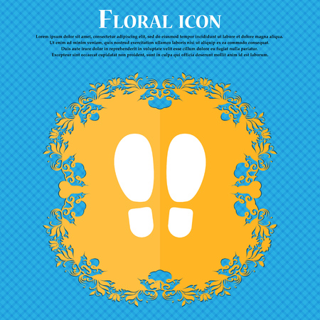 Food step Icon icon. Floral flat design on a blue abstract background with place for your text. Vector illustration