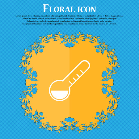 Thermometer icon icon. Floral flat design on a blue abstract background with place for your text. Vector illustration Illustration