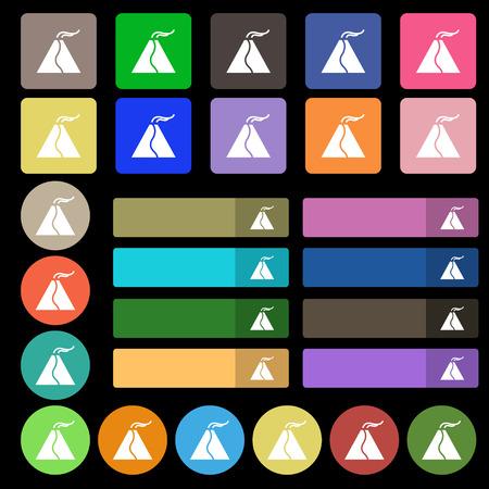 spew: active erupting volcano icon sign. Set from twenty seven multicolored flat buttons. Vector illustration Illustration