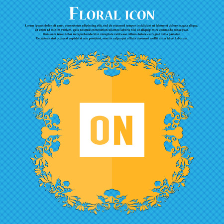 ON icon icon. Floral flat design on a blue abstract background with place for your text. Vector illustration Illustration