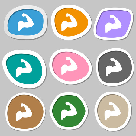 muscular control: Biceps strong arm. Muscle icon symbols. Multicolored paper stickers. Vector illustration Illustration