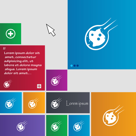 devastation: Flame meteorite icon sign. buttons. Modern interface website buttons with cursor pointer. Vector illustration