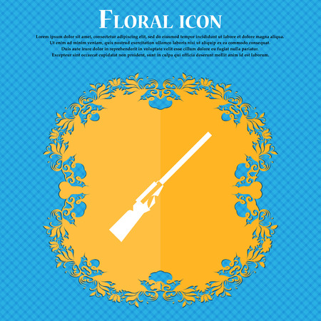 black powder pistol: Shotgun icon icon. Floral flat design on a blue abstract background with place for your text. Vector illustration