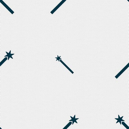 thaumaturge: Magic Wand Icon sign. Seamless pattern with geometric texture. Vector illustration