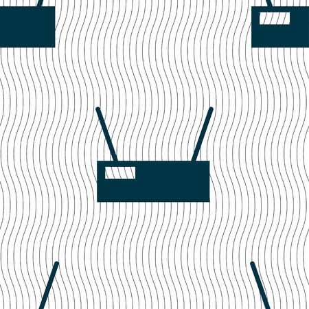 cordless phone: Wi-Fi Icon sign. Seamless pattern with geometric texture. Vector illustration